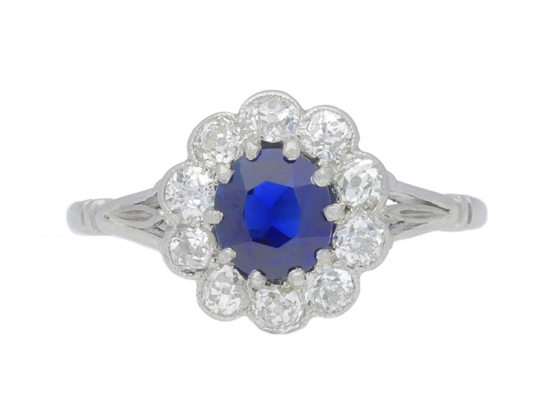 front view Antique sapphire and diamond coronet cluster ring, circa 1910. berganza hatton garden