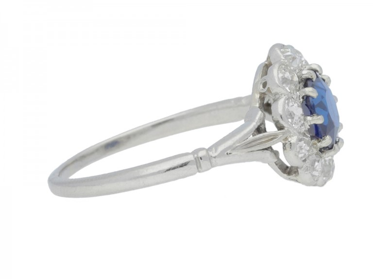 Antique sapphire and diamond coronet cluster ring, circa 1910. berganza hatton garden