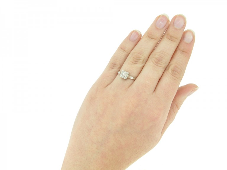 hand view Art Deco diamond engagement ring, circa 1925.