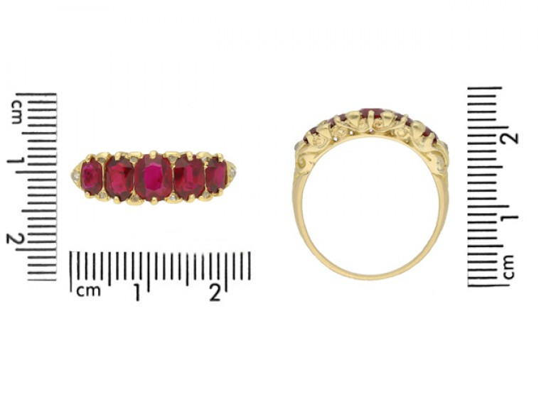 size view Antique ruby five stone ring, English, circa 1890.