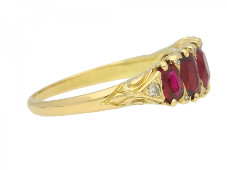 side view Antique ruby five stone ring, English, circa 1890.