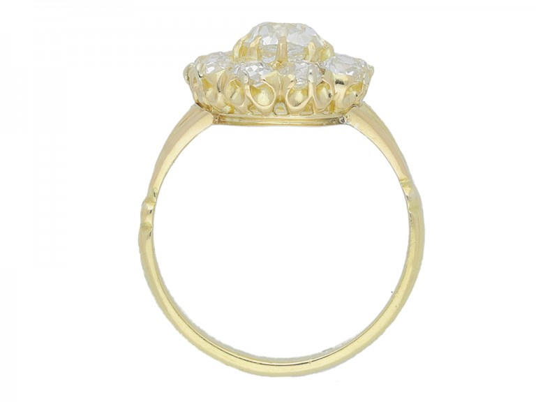 back view Antique diamond cluster engagement ring, English, circa 1890.