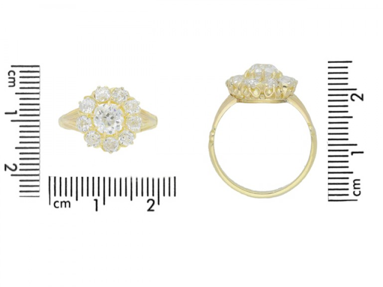 size view Antique diamond cluster engagement ring, English, circa 1890.
