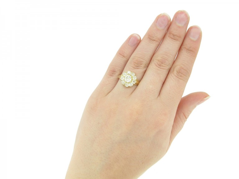 hand view Antique diamond cluster engagement ring, English, circa 1890.
