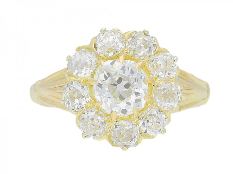 front view Antique diamond cluster engagement ring, English, circa 1890.