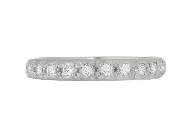 front view Diamond set eternity ring, French, circa 1950s.