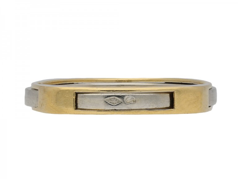 Wedding ring in 18ct yellow and white gold berganza hatton garden