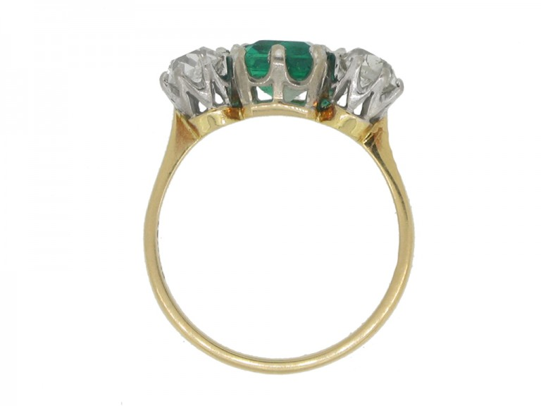 back view Antique Colombian emerald and diamond three stone ring, circa 1910.