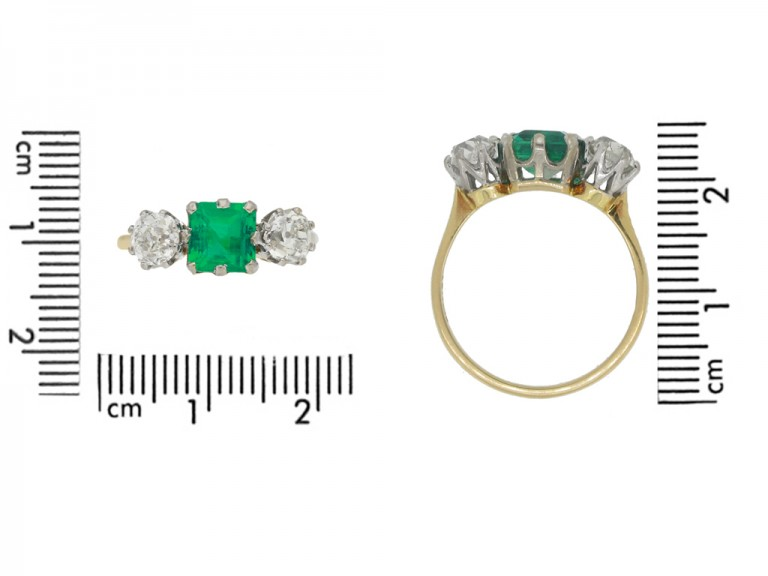 size view Antique Colombian emerald and diamond three stone ring, circa 1910.