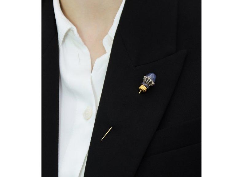 Star sapphire, sapphire and diamond pin, circa 1890.