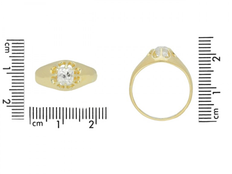 size view Cushion shape solitaire diamond ring, English, circa 1922.