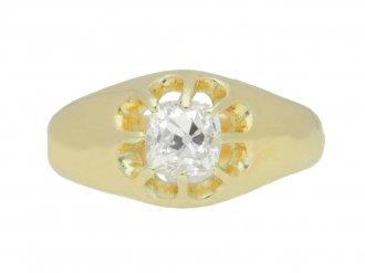 front view Cushion shape solitaire diamond ring, English, circa 1922.