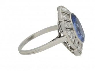 front view Ceylon sapphire and diamond cluster ring, circa 1930.
