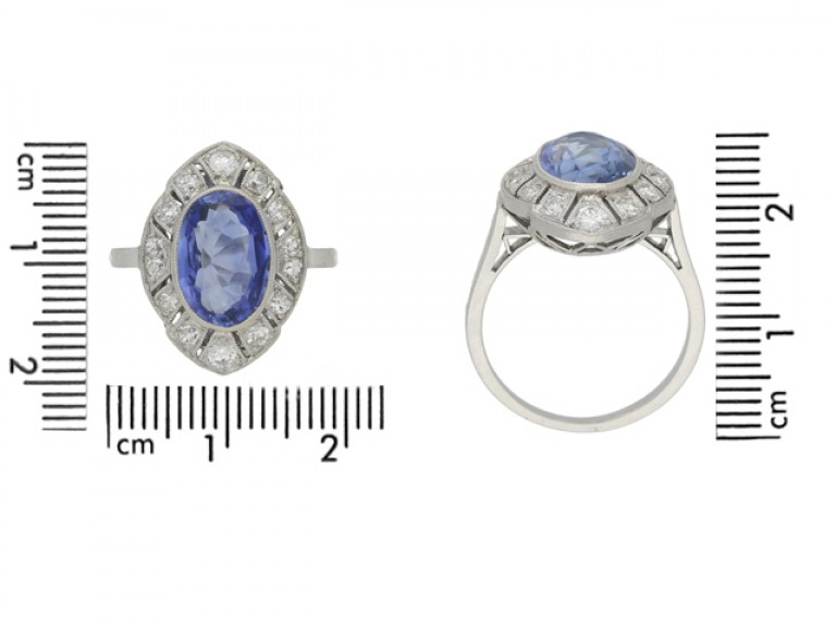 size view Ceylon sapphire and diamond cluster ring, circa 1930.
