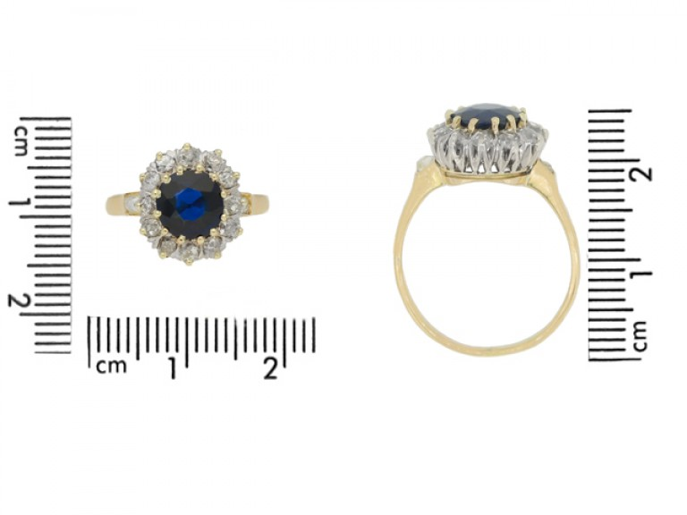 size view vAntique sapphire diamond cluster ring, circa 1905.
