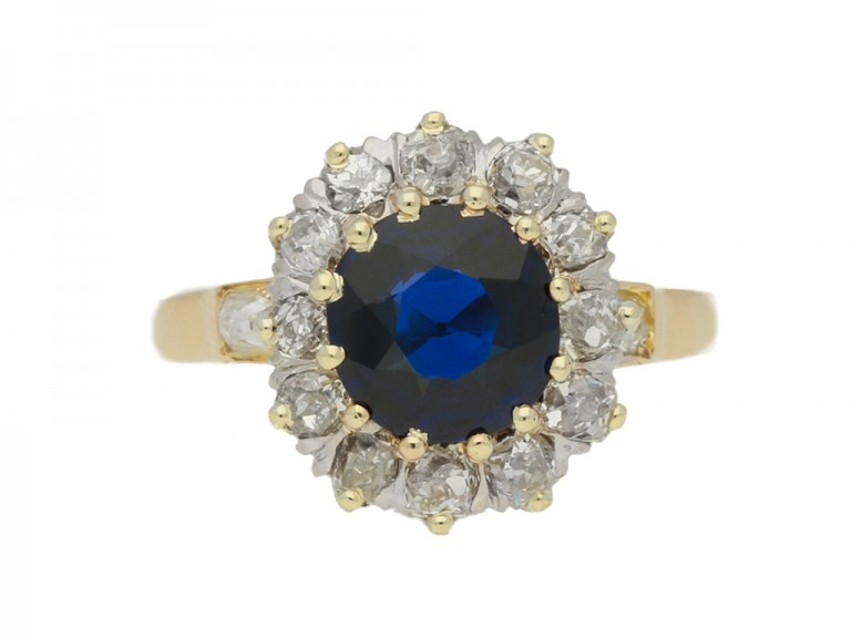 front view Antique sapphire diamond cluster ring, circa 1905.