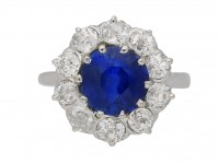 front view  Burmese sapphire and diamond coronet cluster ring, French, circa 1910. berganza hatton garden