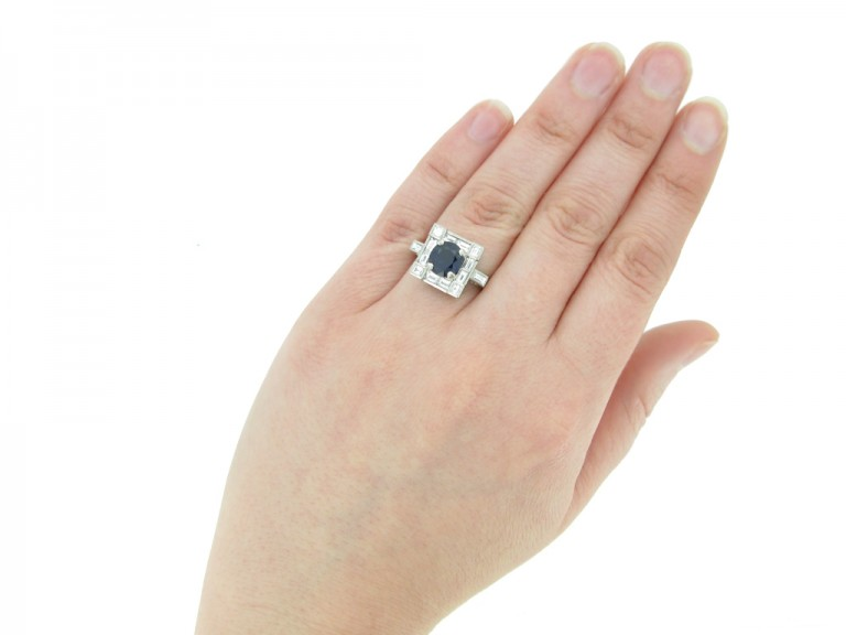 front art deco sapphire diamond ring berganza hatton garden