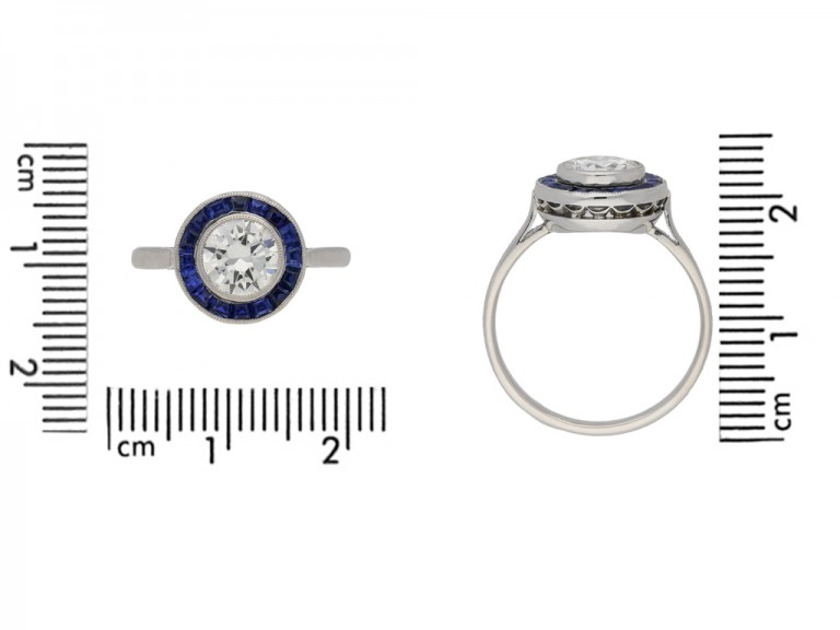 size view  Diamond and sapphire target ring, English, circa 1915. berganza hatton garden