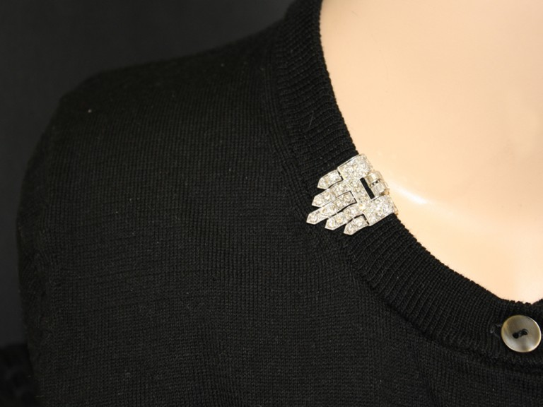 Art Deco diamond clip brooch, circa 1930.