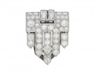 front view Art Deco diamond clip brooch, circa 1930.