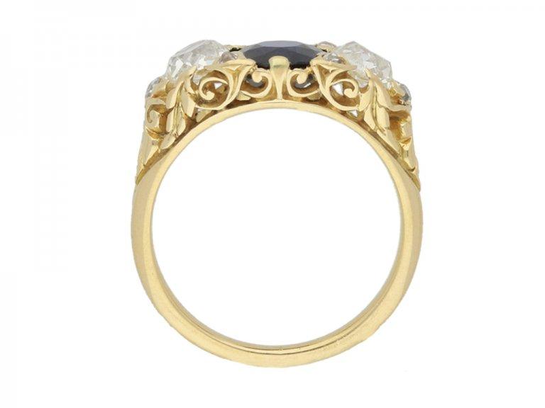 back view Antique sapphire and diamond three stone ring, circa 1900.
