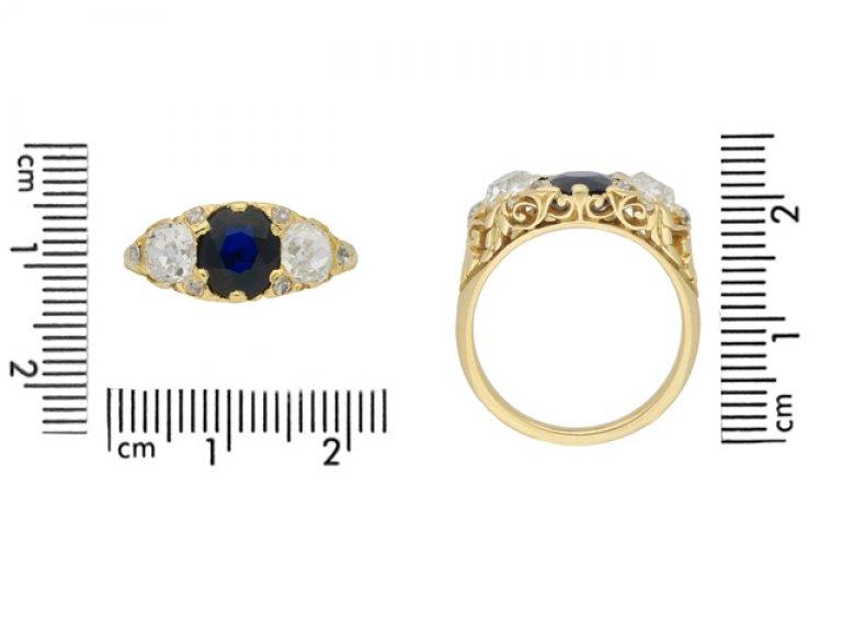 size view Antique sapphire and diamond three stone ring, circa 1900.