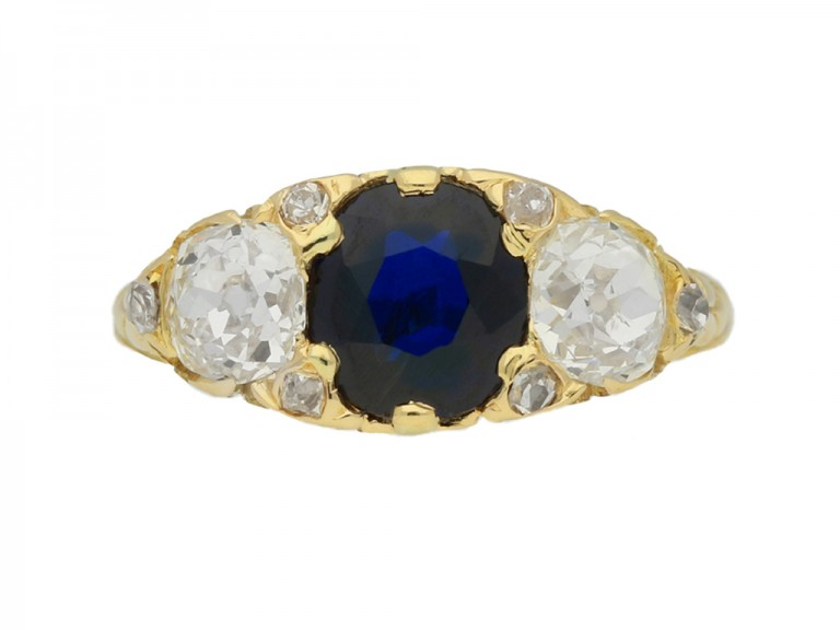 front view Antique sapphire and diamond three stone ring, circa 1900.