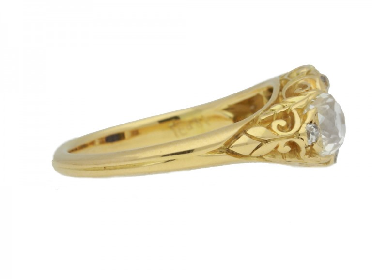 side view Antique sapphire and diamond three stone ring, circa 1900.