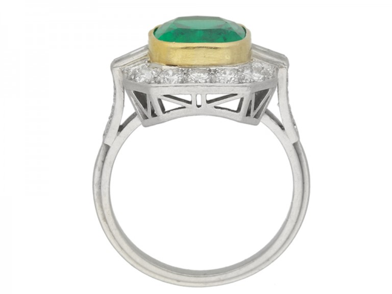 back view Colombian emerald and diamond cluster ring, circa 1940.