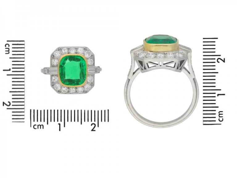 size view Colombian emerald and diamond cluster ring, circa 1940.