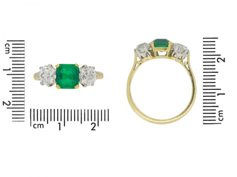 siz eview Antique Colombian emerald and diamond three stone ring, circa 1910.