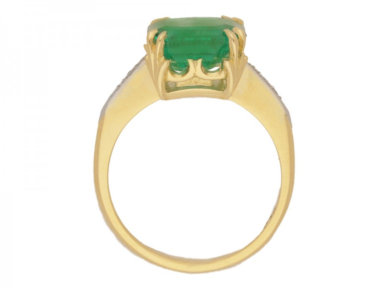 back view Colombian emerald and diamond ring, circa 1940.