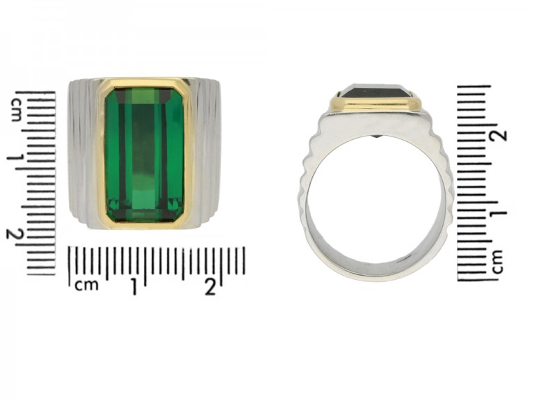 size view Vintage solitaire tourmaline ring, circa 1970.