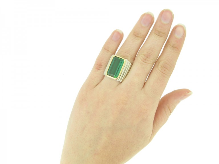 hand view Vintage solitaire tourmaline ring, circa 1970.