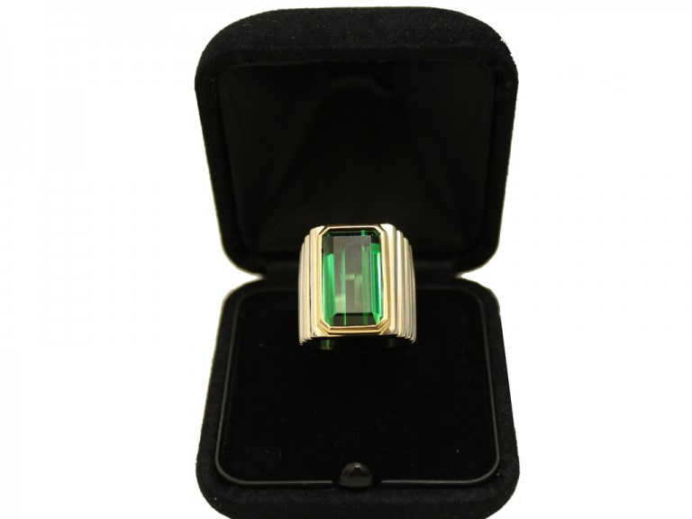 Vintage solitaire tourmaline ring, circa 1970.