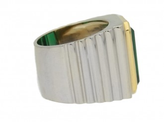 front view Vintage solitaire tourmaline ring, circa 1970.