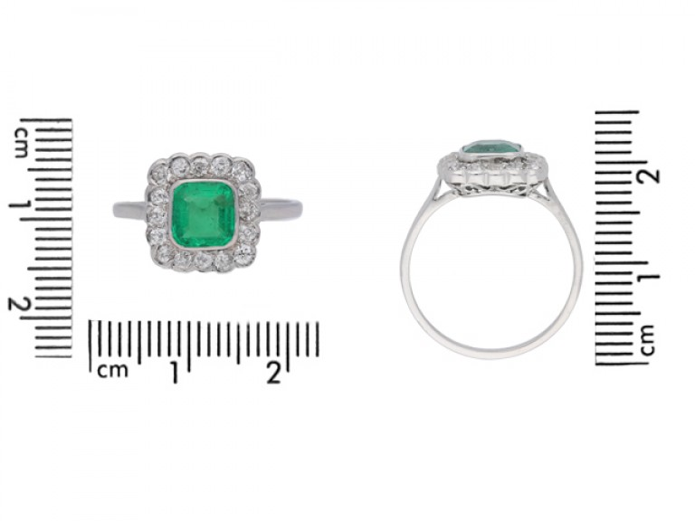 size view Antique emerald and diamond cluster ring, circa 1915.
