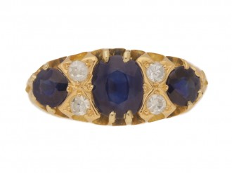 front view Antique sapphire and diamond seven stone ring, circa 1900.