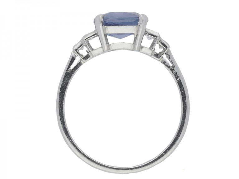 back view Natural cornflower blue Ceylon sapphire ring, circa 1935.