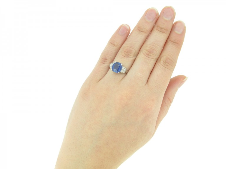 hand view Natural cornflower blue Ceylon sapphire ring, circa 1935.