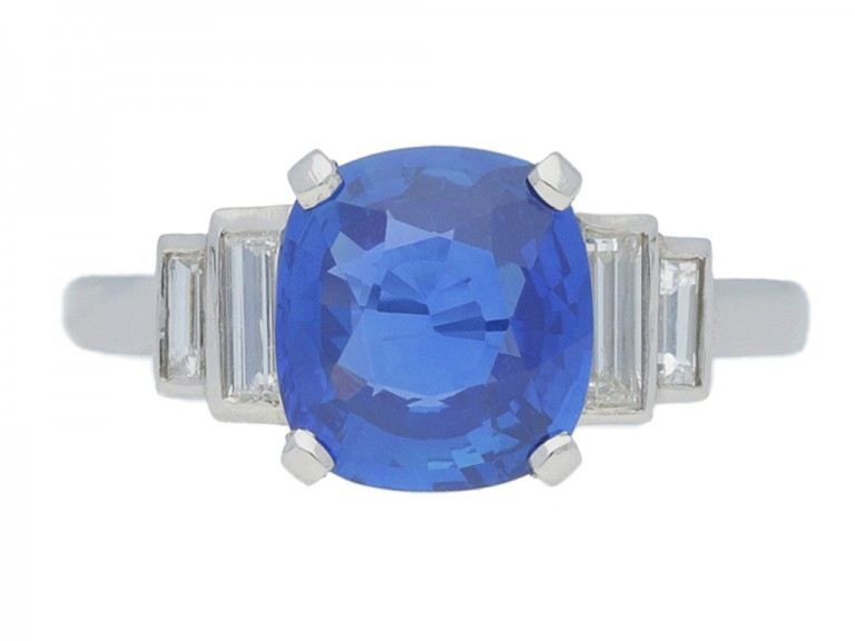 front view Natural cornflower blue Ceylon sapphire ring, circa 1935.
