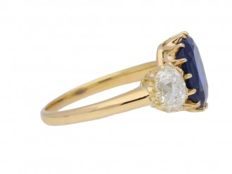 side view Antique sapphire and diamond three stone engagement ring, circa 1900.