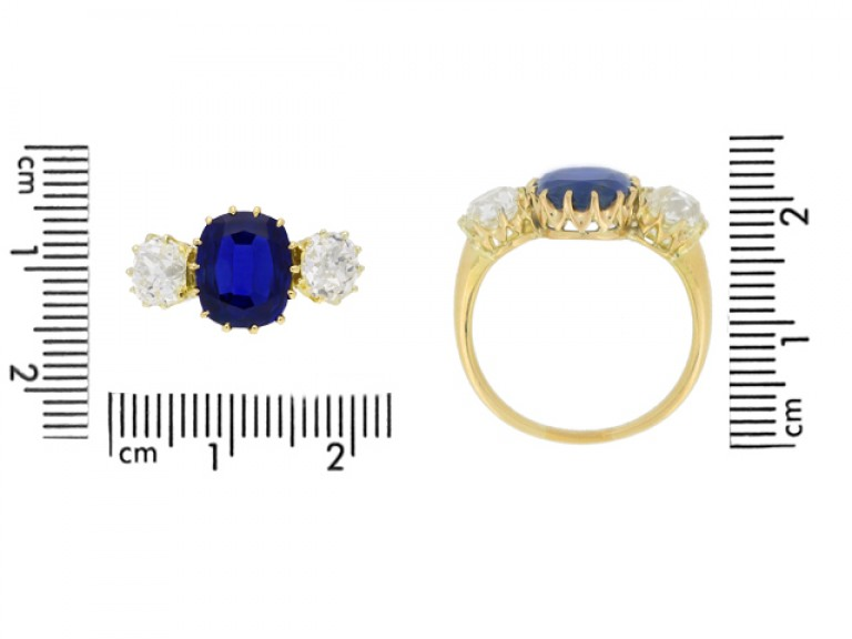 size view Antique sapphire and diamond three stone engagement ring, circa 1900.