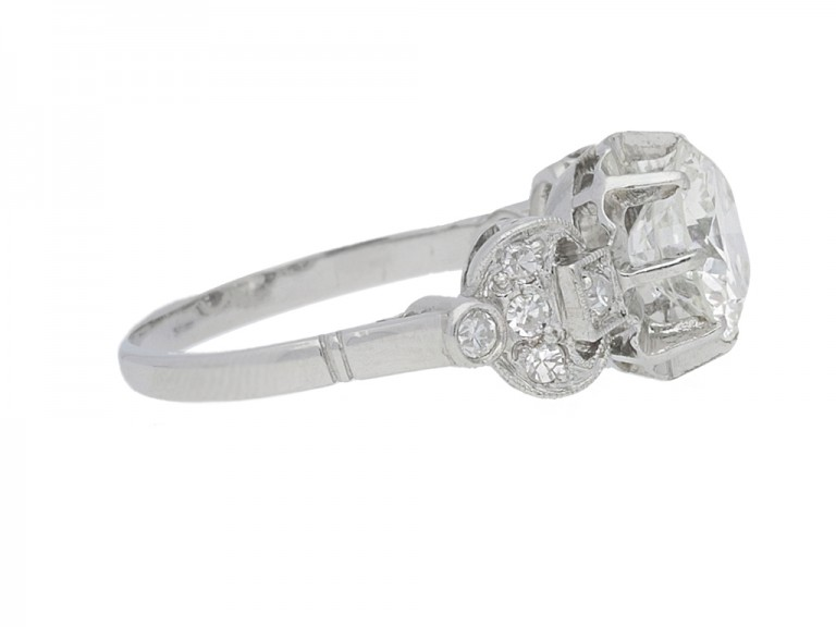 side view Solitaire diamond engagement ring with diamond set shoulders, French, circa 1950.