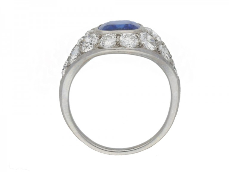 BACK VIEW Sapphire and diamond cluster ring, French, circa 1930.