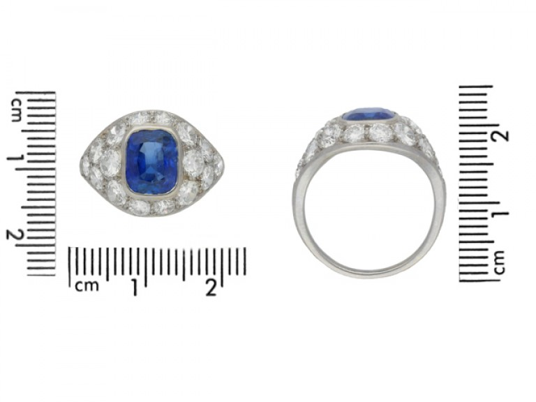 SIZE VIEW Sapphire and diamond cluster ring, French, circa 1930.