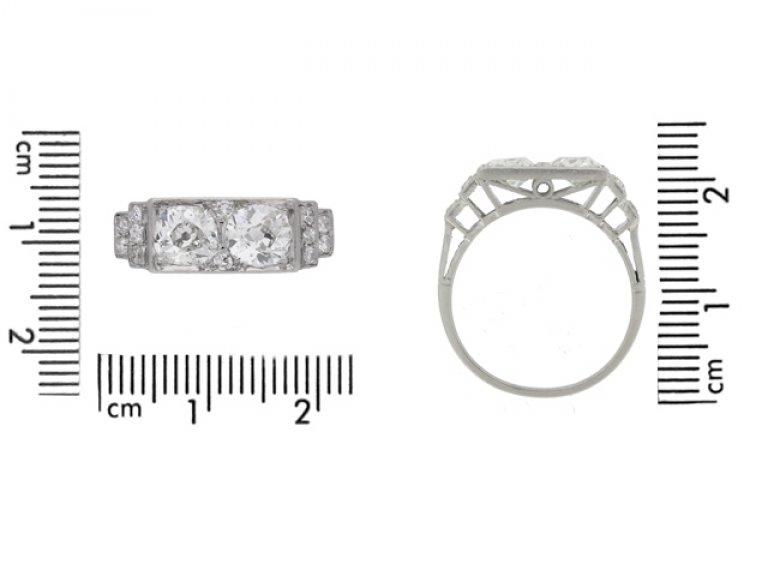 size view Art Deco diamond two stone ring, French, circa 1925.