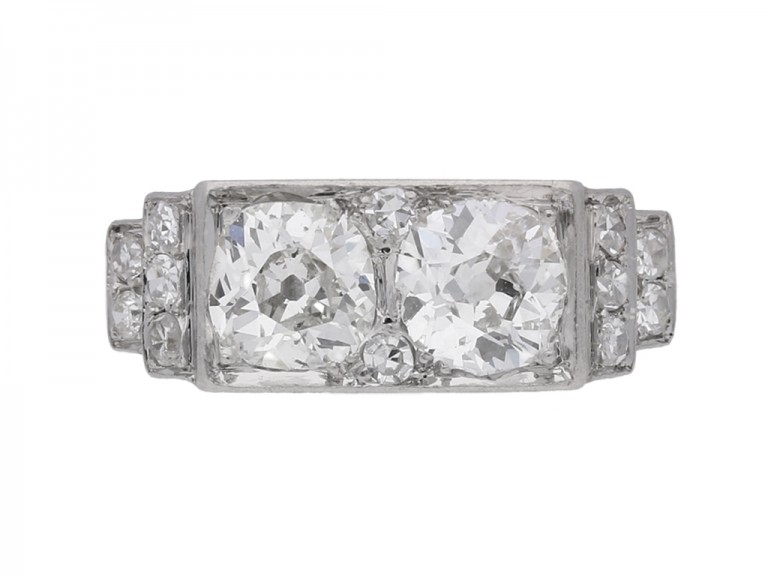 front view Art Deco diamond two stone ring, French, circa 1925.