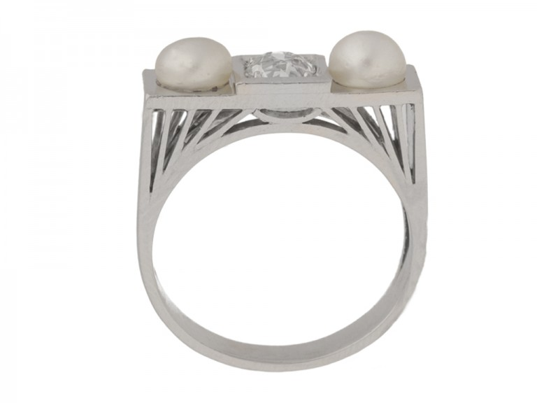 back view Art Deco natural pearl and diamond ring, French, circa 1925.